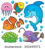 ocean fauna topic set 1   eps10 ... | Shutterstock .eps vector #352345571