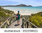 beautiful woman in langebaan... | Shutterstock . vector #352358021