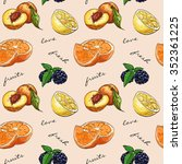 pattern fresh fruit. mix fruits ... | Shutterstock . vector #352361225