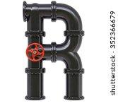 alphabet from oil pipes.... | Shutterstock . vector #352366679