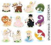 cute cartoon zodiac design for... | Shutterstock .eps vector #352399244