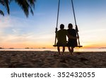 couple on paradise beach resort ... | Shutterstock . vector #352432055