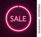 sale glowing neon sign. light... | Shutterstock .eps vector #352435601