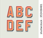 vector retro 3d font with... | Shutterstock .eps vector #352438481