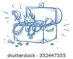 wooden box and treasure chest ... | Shutterstock .eps vector #352447355