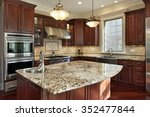 kitchen with granite island and ... | Shutterstock . vector #352477844