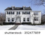 suburban home in winter with... | Shutterstock . vector #352477859