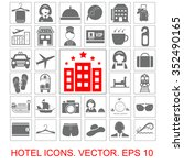 hotel vector icons set | Shutterstock .eps vector #352490165