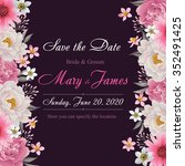 flower wedding invitation card  ... | Shutterstock .eps vector #352491425