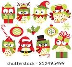 christmas owls  green    Shutterstock .eps vector #352495499