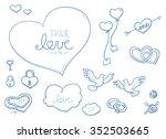 set of romantic love ornaments... | Shutterstock .eps vector #352503665