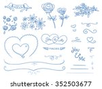 set of romantic love ornaments... | Shutterstock .eps vector #352503677
