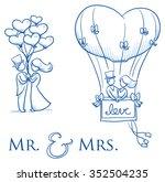 cartoon love wedding couple... | Shutterstock .eps vector #352504235
