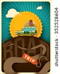 comic road trip illustration.... | Shutterstock .eps vector #352528604