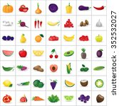 fruits and vegetables set  ... | Shutterstock .eps vector #352532027