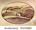 rural landscape with the forest ... | Shutterstock . vector #35253880