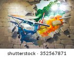 Small photo of JEJU, SOUTH KOREA - NOV 29, 2015 : Photo of 3D Wall Painting of Falling Airplane drove out of stone brick wall