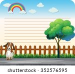 line paper design with dog on... | Shutterstock .eps vector #352576595