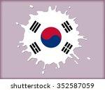 splash with south korea flag... | Shutterstock .eps vector #352587059