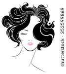 short hair style icon  logo...   Shutterstock .eps vector #352599869