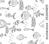 black and white seamless... | Shutterstock . vector #352604855