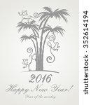 happy new year 2016. year of... | Shutterstock .eps vector #352614194