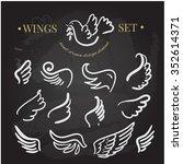 Vector Doodle Wings Set. Angel...