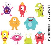 set of cute silly monsters with ... | Shutterstock .eps vector #352624964