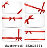 gift card set with red ribbon... | Shutterstock . vector #352638881