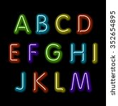 neon glow alphabet. design... | Shutterstock . vector #352654895