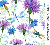 seamless pattern. watercolor... | Shutterstock . vector #352661321