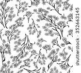 seamless black and white flower ... | Shutterstock .eps vector #352663145