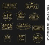 golden crown award icon set....   Shutterstock . vector #352667081