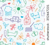 seamless pattern  drawn in a... | Shutterstock .eps vector #352667231