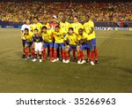 EAST RUTHERFORD NJ - AUGUST 12: Team Ecuador poses during the International Friendly match against Jamaica at Giants Stadium on August 12 2009 in East Rutherford NJ - stock photo