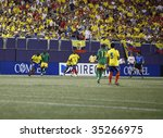EAST RUTHERFORD NJ - AUGUST 12: Segundo Castillo #14 of Ecuador handles the ball against Jamaica during the International Friendly match at Giants Stadium on August 12 2009 in East Rutherford NJ - stock photo