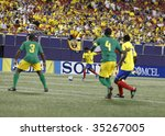 EAST RUTHERFORD NJ - AUGUST 12: David Quiroz #7 of Ecuador handles the ball against Jamaica during the International Friendly match at Giants Stadium on August 12 2009 in East Rutherford NJ - stock photo