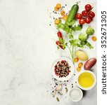 various colorful spices and... | Shutterstock . vector #352671305