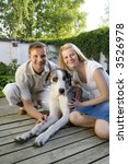 couple and their dog | Shutterstock . vector #3526978