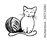 kitten with ball of yarn   Shutterstock .eps vector #352712081