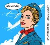 bon voyage stewardess airplane... | Shutterstock .eps vector #352726694