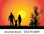 vector silhouette of a family... | Shutterstock .eps vector #352741889