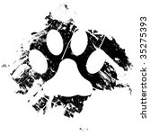 Grunge pet or cat paw print.  Can be used as a background or as a minor design element. - stock vector