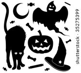Halloween design elements silhouette set.  Includes black cat, jack o lantern pumpkin, ghost, and witch's hat. - stock vector