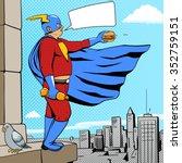 superhero fat man with burger...   Shutterstock .eps vector #352759151