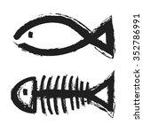 Fish Bone Skeleton Symbol...