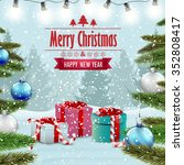 beautiful christmas card with... | Shutterstock .eps vector #352808417