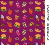 fast food pattern on pink... | Shutterstock .eps vector #352830935