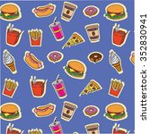 fast food pattern on blue... | Shutterstock .eps vector #352830941