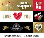Saint Valentines day retro set of labels and banners with gold, pink colors. Includes heart shape, kiss, angel, nature designs. EPS10 vector.